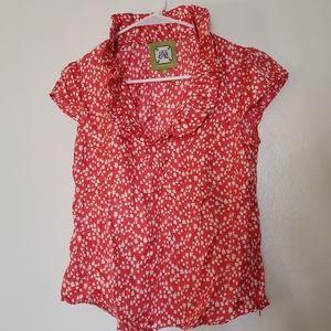 Elizabeth McKay ruffleneck top with side zipper